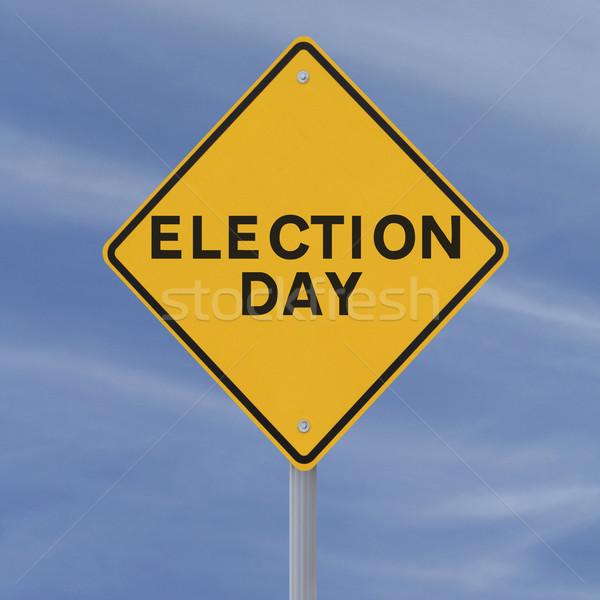 Seçim gün yol işareti mavi gökyüzü gökyüzü Stok fotoğraf © lorenzodelacosta