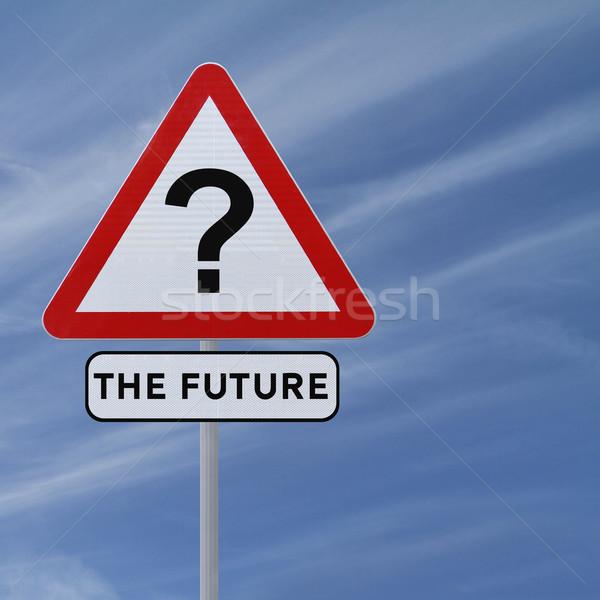 Jövő bizonytalanság jelzőtábla kék ég kék ötlet Stock fotó © lorenzodelacosta
