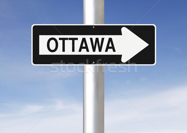 Оттава Канада знак синий Сток-фото © lorenzodelacosta