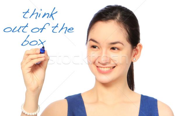 Gondolkodik ki doboz nő ír toll Stock fotó © lorenzodelacosta
