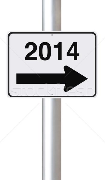 Новый год 2014 улице подписать знак дорожный знак Сток-фото © lorenzodelacosta