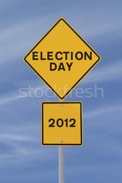 2012 seçim gün yol işareti mavi gökyüzü Stok fotoğraf © lorenzodelacosta