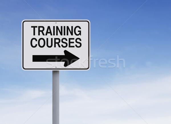 Képzés erre egyirányú utca felirat kék tanul Stock fotó © lorenzodelacosta