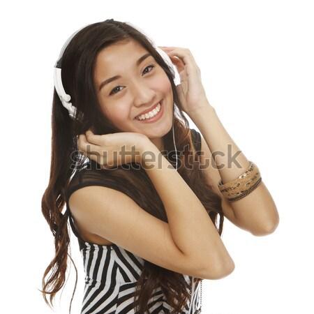 Stockfoto: Genieten · muziek · jonge · mooie · vrouw · hoofdtelefoon
