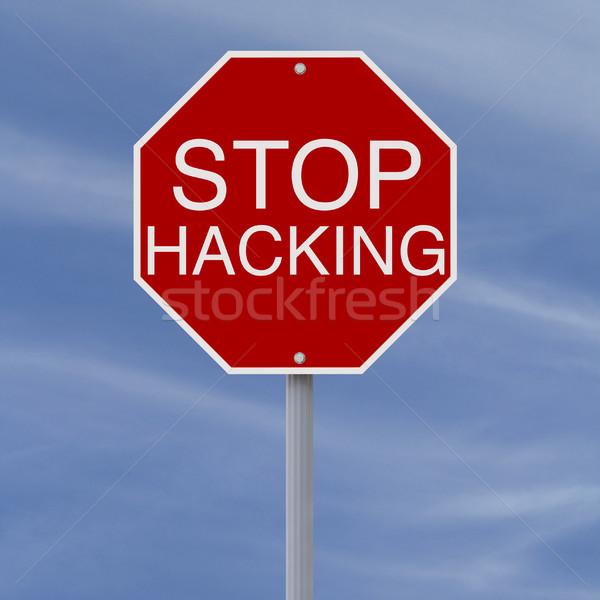 Stoppen hacking stopteken teken Blauw Rood Stockfoto © lorenzodelacosta
