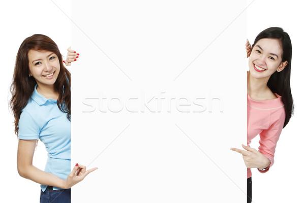 若い女性 広告 銀行 スペース 女性 ストックフォト © lorenzodelacosta