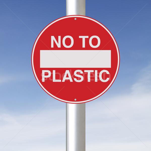 нет пластиковых дорожный знак окружающий защиту небе Сток-фото © lorenzodelacosta