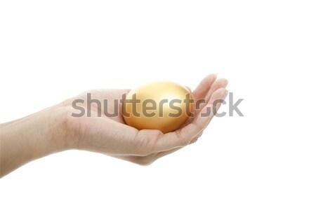 Mão ovo dourado isolado ovo Foto stock © lorenzodelacosta