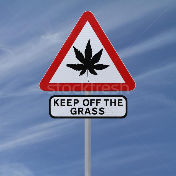 Marihuana hoja senalización de la carretera cielo azul cielo Foto stock © lorenzodelacosta