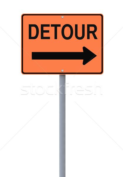 Kerülőút jelzőtábla felirat fehér narancs veszély Stock fotó © lorenzodelacosta