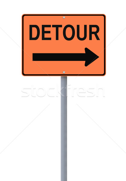 Desvio placa sinalizadora assinar branco laranja perigo Foto stock © lorenzodelacosta