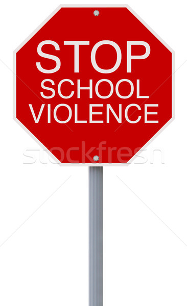 Stop scuola violenza stop segno rosso Foto d'archivio © lorenzodelacosta