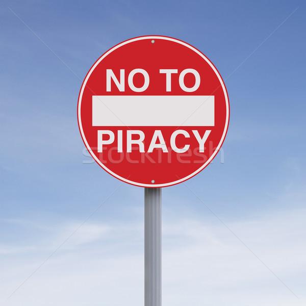 нет пиратство знак синий преступление концептуальный Сток-фото © lorenzodelacosta