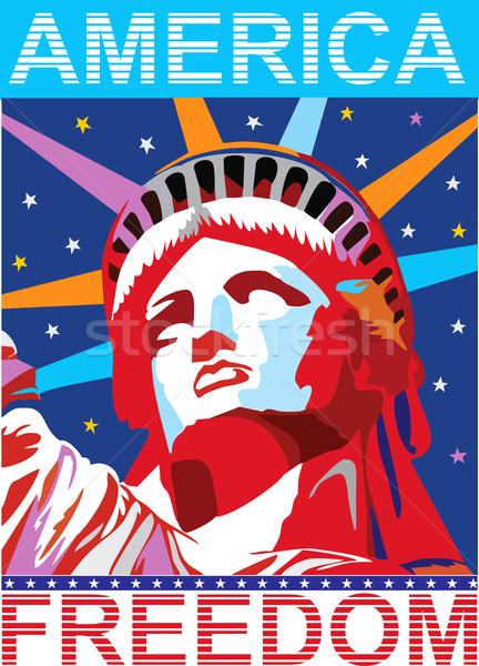 вектора Америки свободу статуя знак флаг Сток-фото © lossik