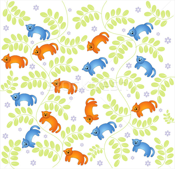 Vector seamless pattern  vintage garden and cat Stock photo © lossik