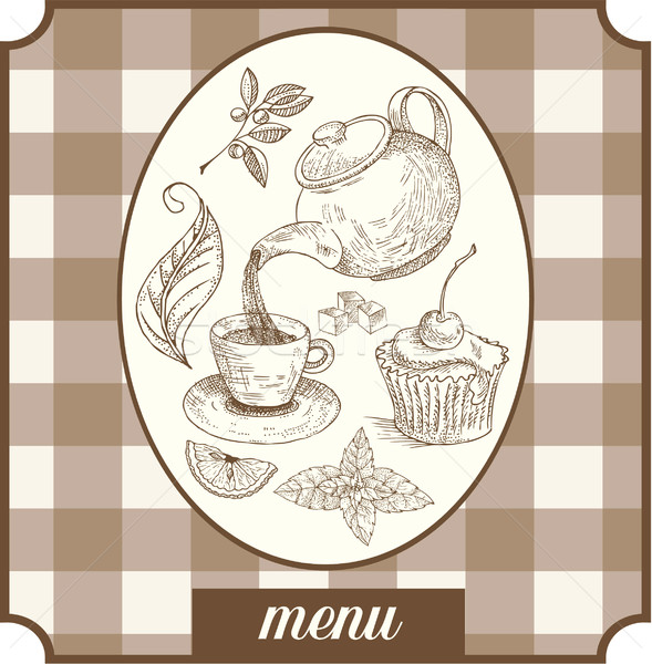 Menu teatime label design Stock photo © lossik