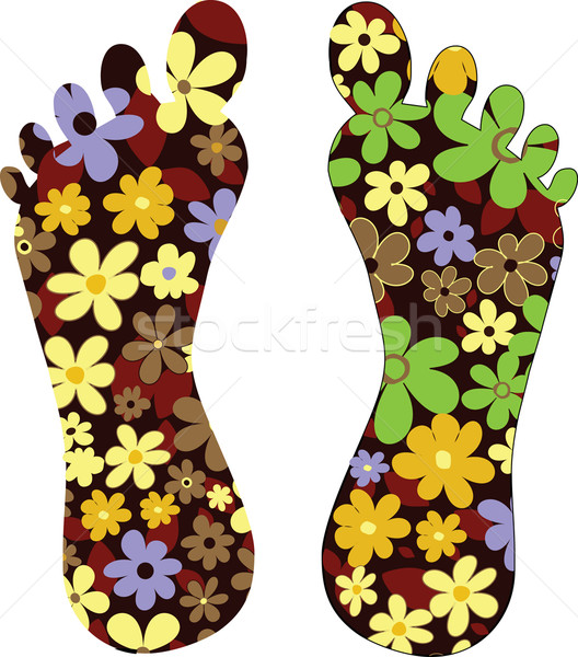 Vector illustration feet flowers ecology Stock photo © lossik