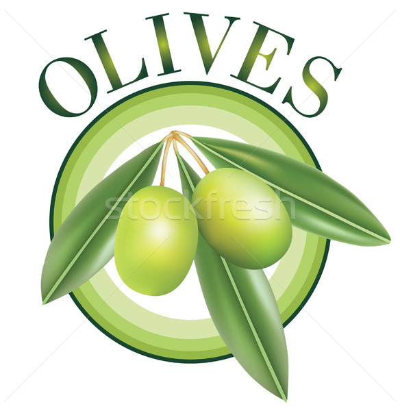 Label for product. Olive oil. Green olives. Stock photo © lossik