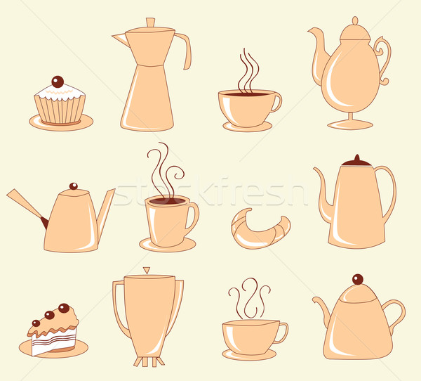 Collection of teapots, cups with coffee, cakes and croissants Stock photo © lossik