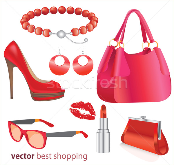 Fashion boutique set, stylized doodles Stock photo © lossik