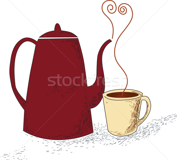 Ceramic brown teapot and cup with smoke Stock photo © lossik