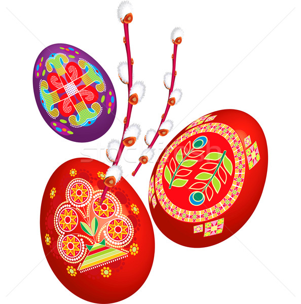 Vector Easter a willow with seals and eggs Stock photo © lossik