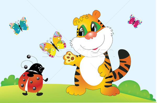 Vector tiger ladybird Stock photo © lossik