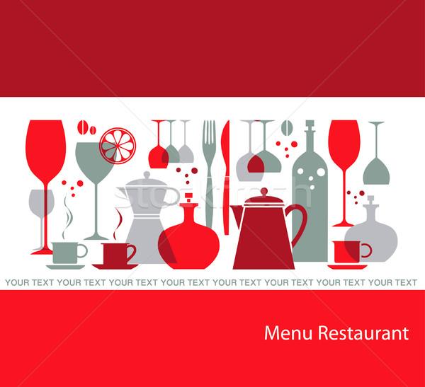 グレー 赤 レストラン メニュー テクスチャ ガラス ストックフォト © lossik