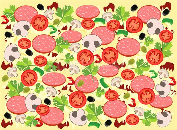 ピザ 背景 色 トマト 食べる ハム ストックフォト © lossik