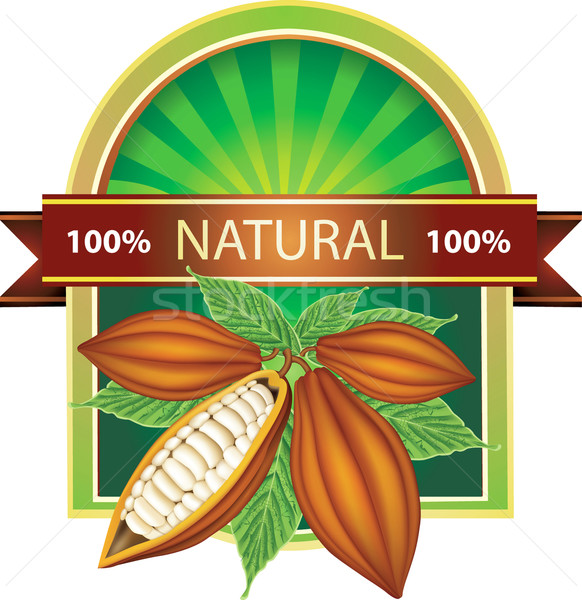 Label with cocoa beans 100% natural product Stock photo © lossik