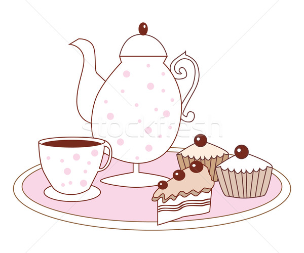 Stock photo: Vector dessert cake fruitcake coffee pot and coffee cup