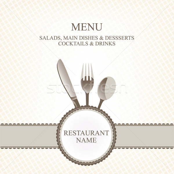 restaurant menu with flatware (knife, spoon, fork) Stock photo © lossik