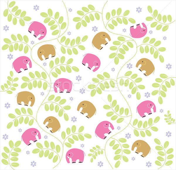 Vector seamless pattern displaying vintage garden and baby Elephants Stock photo © lossik