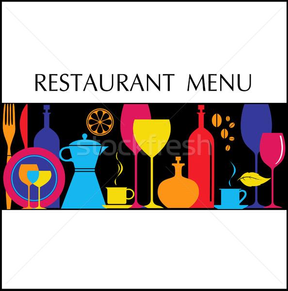 色 レストラン メニュー パーティ ガラス バー ストックフォト © lossik
