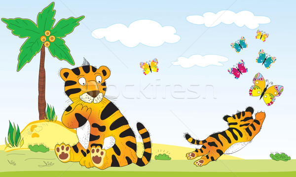 Illustration tigers and butterflies Stock photo © lossik