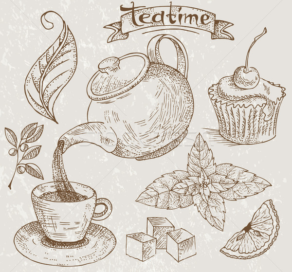 Teatime icons Stock photo © lossik