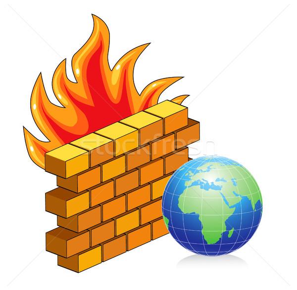 レンガの壁 火災 インターネット 壁 セキュリティ ウェブ ストックフォト © lossik