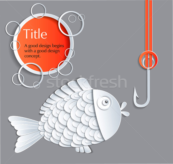 рыбы крюк цвета плаванию карт белый Сток-фото © lossik