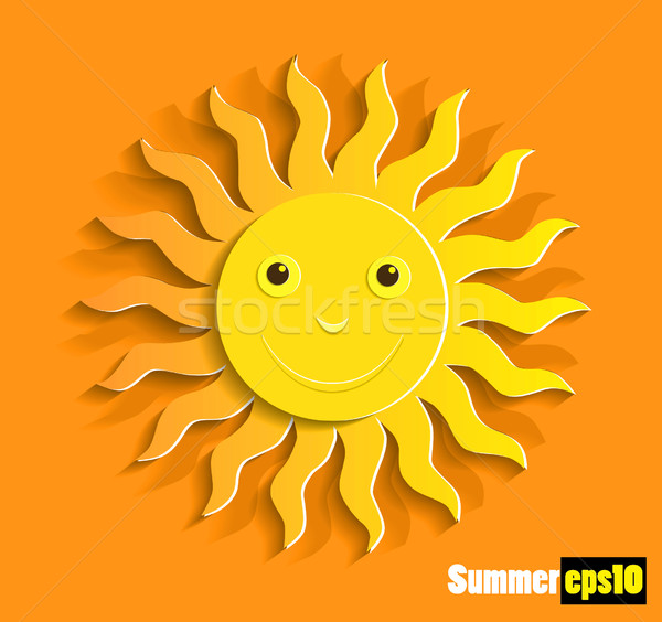 Orange sun vector Stock photo © lossik