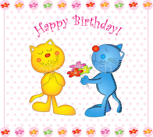 Vector card seal kitty birthday Stock photo © lossik