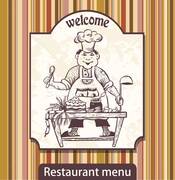 Menu with drawing the cook with a scoop invites Stock photo © lossik