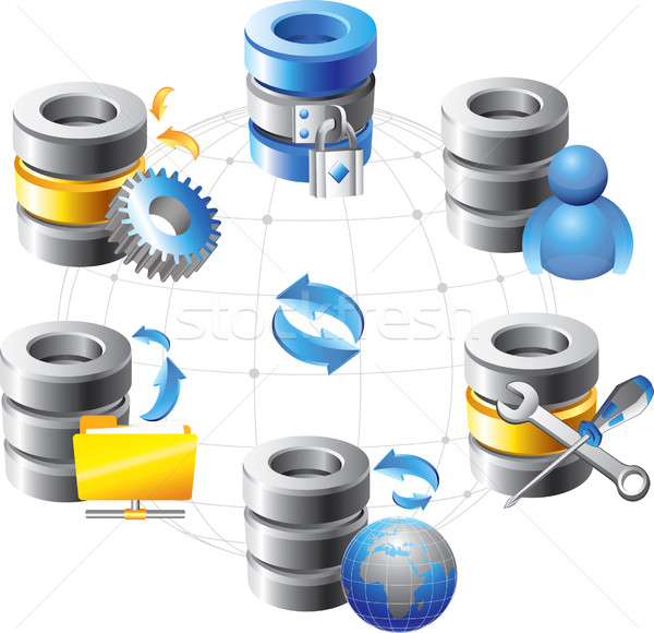Database web hosting iconen technologie groep Stockfoto © lossik