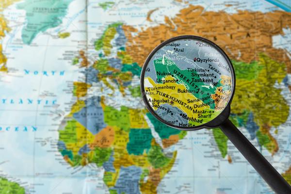 карта Узбекистан увеличительное стекло бизнеса Мир стекла Сток-фото © lostation