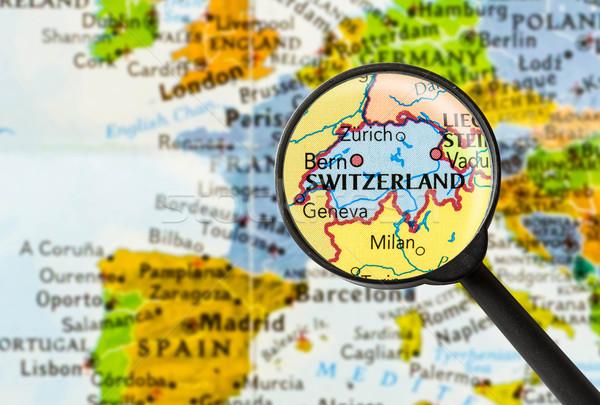 Térkép nagyító kék utazás fehér keresés Stock fotó © lostation