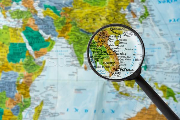 карта республика Вьетнам увеличительное стекло бизнеса мира Сток-фото © lostation