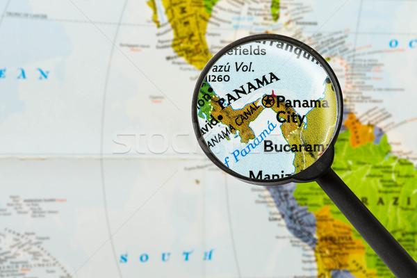 Térkép köztársaság Panama nagyító világ üveg Stock fotó © lostation