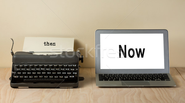 vintage typewriter and computer laptop Stock photo © lostation