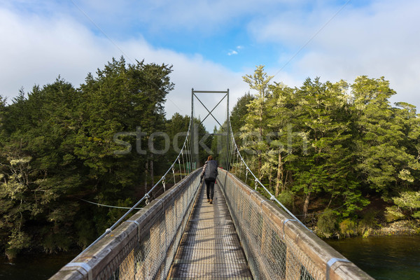 woman hiking on swing bridge at Kepler track Stock photo © lostation