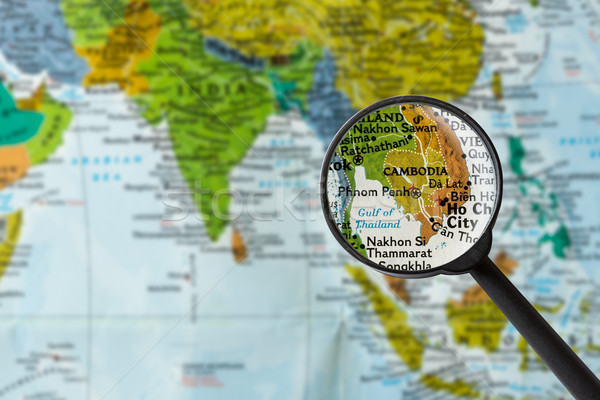 Kaart Cambodja vergrootglas business wereld glas Stockfoto © lostation