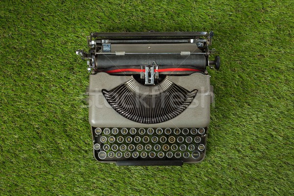 vintage typewriter isolated on grass background Stock photo © lostation